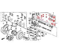 384, ремонтный комплект заднего суппорта, , 3 600 р., 01473-SN7-010, Honda Motor Co., ЗАДНЯЯ ОСЬ