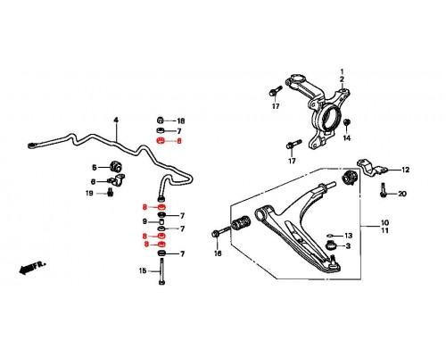 втулка передней стойки стабилизатора полиуретановая