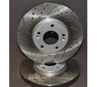диск тормозной передний, перфорированный, слотированный